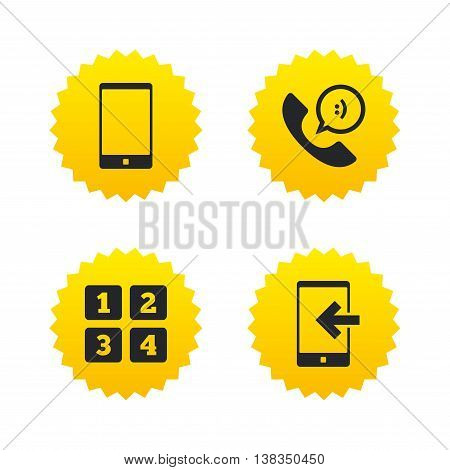 Phone icons. Smartphone incoming call sign. Call center support symbol. Cellphone keyboard symbol. Yellow stars labels with flat icons. Vector