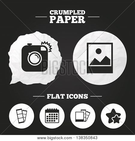 Crumpled paper speech bubble. Hipster photo camera icon. Flash light symbol. Photo booth strips sign. Landscape photo frame. Paper button. Vector
