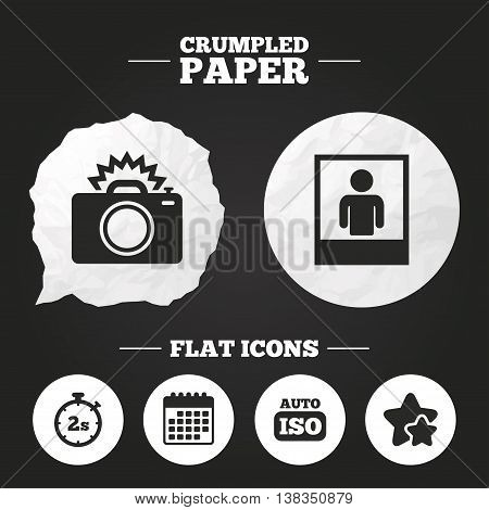 Crumpled paper speech bubble. Photo camera icon. Flash light and Auto ISO symbols. Stopwatch timer 2 seconds sign. Human portrait photo frame. Paper button. Vector
