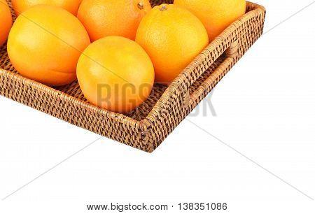 Orange On Wickered Tray