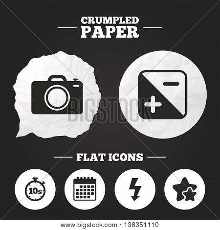 Crumpled paper speech bubble. Photo camera icon. Flash light and exposure symbols. Stopwatch timer 10 seconds sign. Paper button. Vector