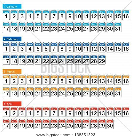 set of four months vector  (january, february, march, april)
