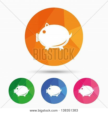 Piggy sign icon. Pork symbol. Triangular low poly button with flat icon. Vector