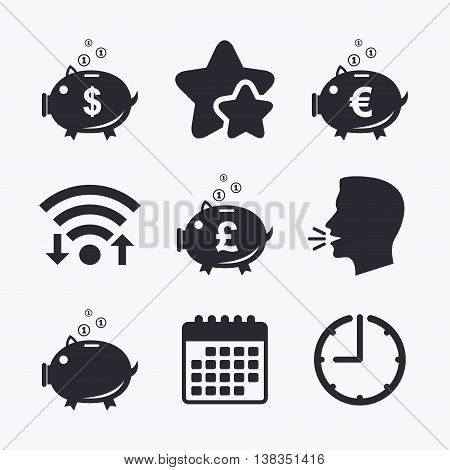 Piggy bank icons. Dollar, Euro and Pound moneybox signs. Cash coin money symbols. Wifi internet, favorite stars, calendar and clock. Talking head. Vector