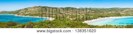 Panoramic View Of Rondinara Beach In Corsica Island In France