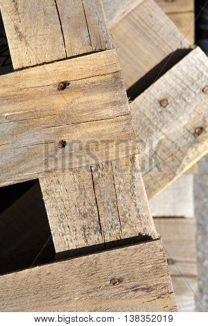 Wooden crate background, rustic grunge old wooden planks with rusty nails