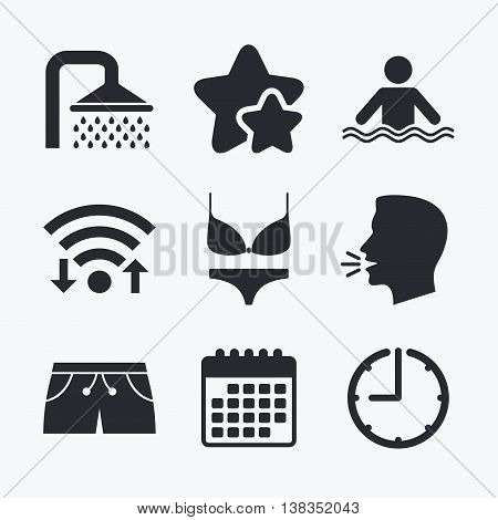 Swimming pool icons. Shower water drops and swimwear symbols. Human stands in sea waves sign. Trunks and women underwear. Wifi internet, favorite stars, calendar and clock. Talking head. Vector