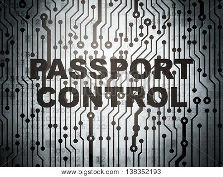 Travel concept: circuit board with  word Passport Control, 3D rendering