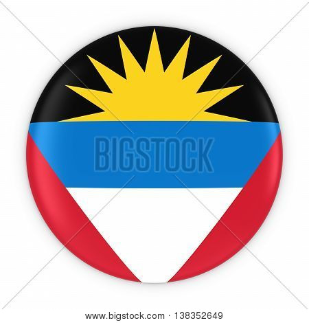 Antiguan And Barbudan Flag Button - Flag Of Antigua And Barbuda Badge 3D Illustration