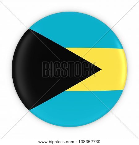 Bahamian Flag Button - Flag Of Bahamas Badge 3D Illustration