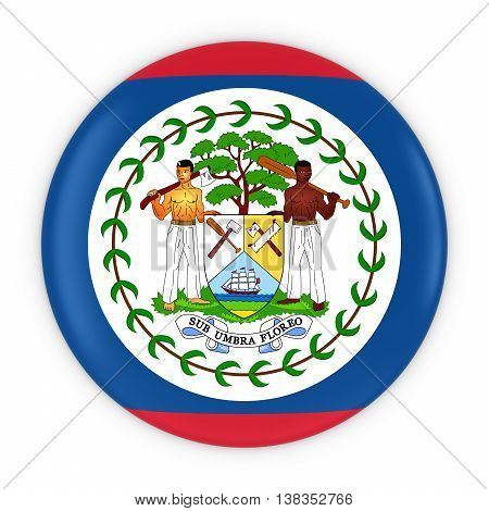 Belizean Flag Button - Flag Of Belize Badge 3D Illustration