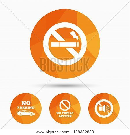 Stop smoking and no sound signs. Private territory parking or public access. Cigarette symbol. Speaker volume. Triangular low poly buttons with shadow. Vector