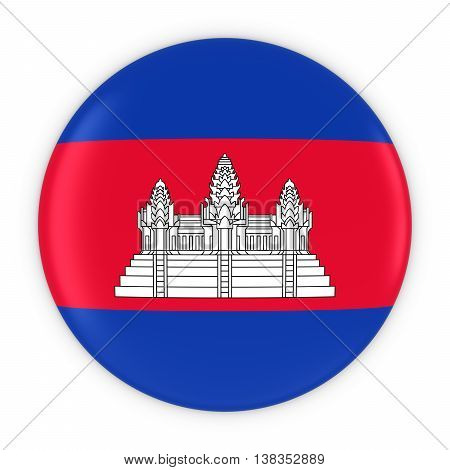 Cambodian Flag Button - Flag Of Cambodia Badge 3D Illustration