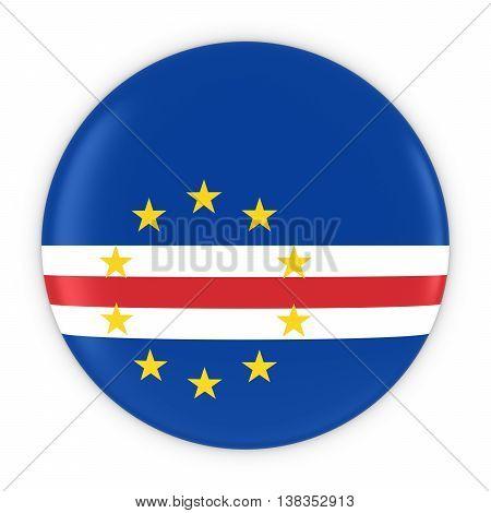 Cabo Verdean Flag Button - Flag Of Cabo Verde Badge 3D Illustration