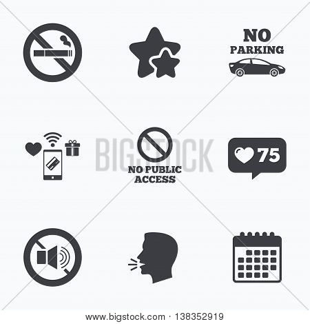 Stop smoking and no sound signs. Private territory parking or public access. Cigarette symbol. Speaker volume. Flat talking head, calendar icons. Stars, like counter icons. Vector
