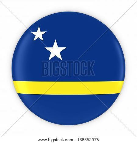 Curacaoan Flag Button - Flag Of Curacao Badge 3D Illustration