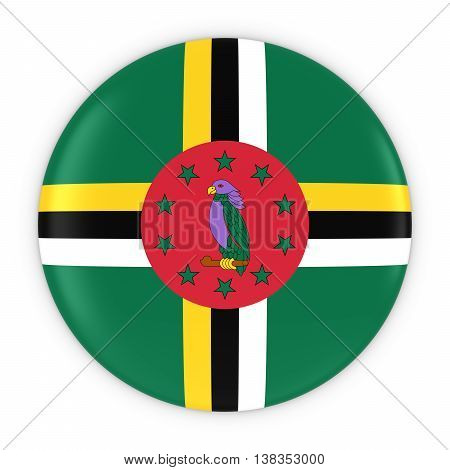 Dominican Flag Button - Flag Of Dominica Badge 3D Illustration