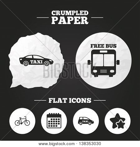 Crumpled paper speech bubble. Public transport icons. Free bus, bicycle and taxi signs. Car transport symbol. Paper button. Vector