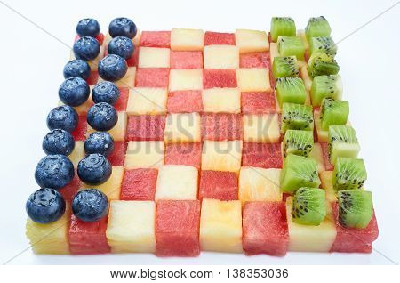 Fun food. Checkers made from fruits. Creative food for kids