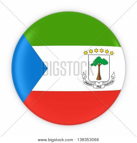 Equatorial Guinean Flag Button - Flag Of Equatorial Guinea Badge 3D Illustration