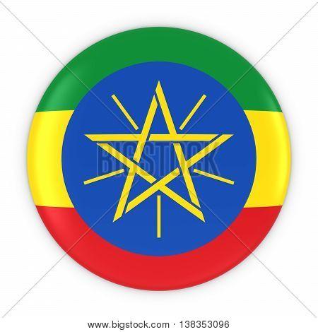 Ethiopian Flag Button - Flag Of Ethiopia Badge 3D Illustration