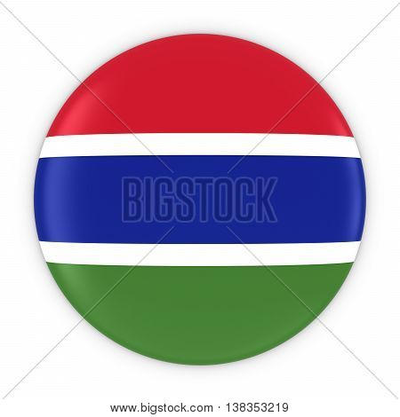 Gambian Flag Button - Flag Of Gambia Badge 3D Illustration