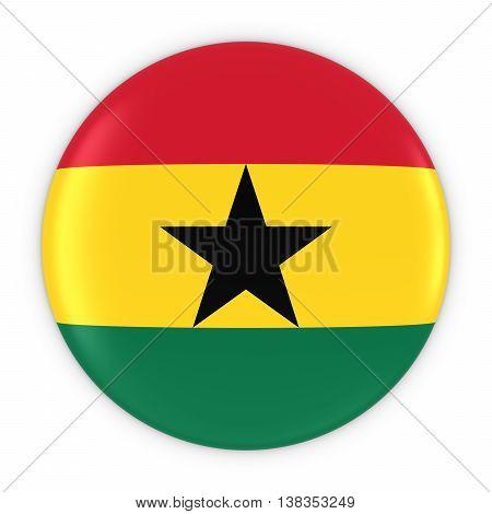 Ghanaian Flag Button - Flag Of Ghana Badge 3D Illustration