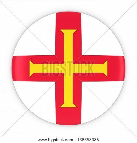 Channel Islands Flag Button - Flag Of Guernsey Badge 3D Illustration