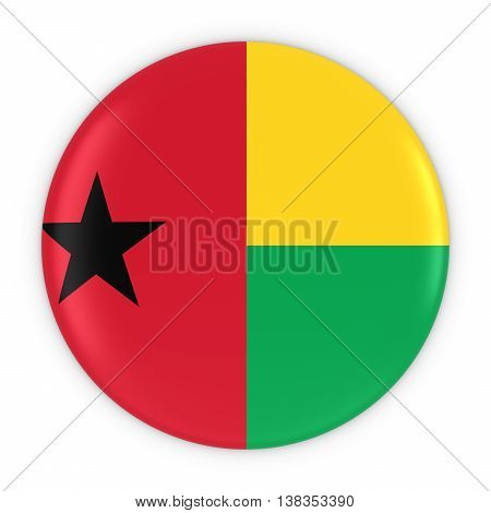 Bissau-guinean Flag Button - Flag Of Guinea-bissau Badge 3D Illustration