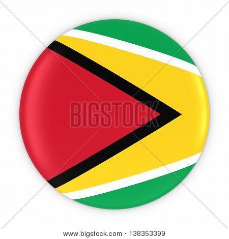 Guyanese Flag Button - Flag Of Guyana Badge 3D Illustration