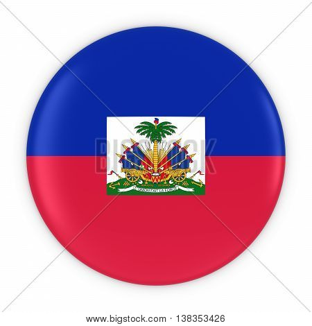 Haitian Flag Button - Flag Of Haiti Badge 3D Illustration