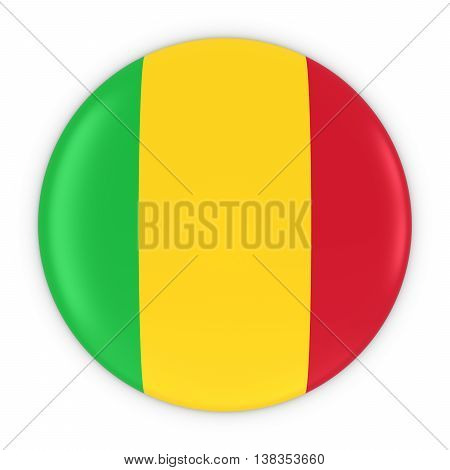 Malian Flag Button - Flag Of Mali Badge 3D Illustration