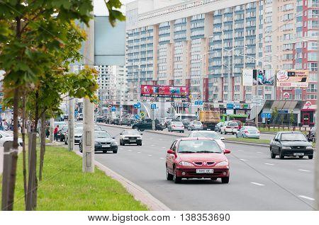 Minsk Belarus - July 11 2016: View of Prospect Dzerzhinsky districts Malinovka and Druzhba.