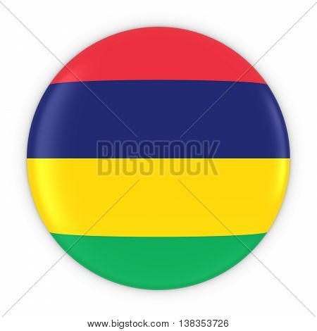 Mauritian Flag Button - Flag Of Mauritius Badge 3D Illustration
