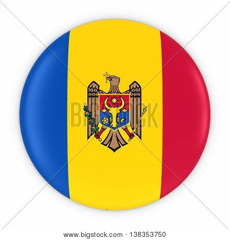 Moldovan Flag Button - Flag Of Moldova Badge 3D Illustration