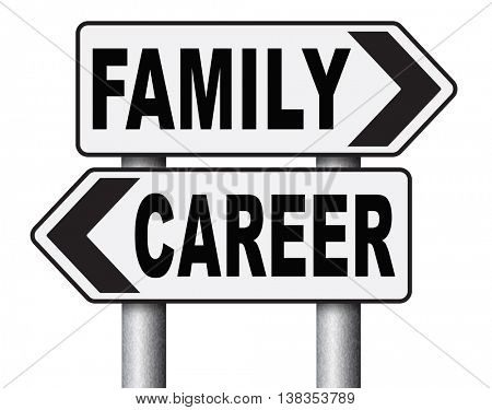 family career balance in work business and health live your life stress free with relaxation and leisure time change job direction move away from workaholic 3D illustration, isolated, on white
