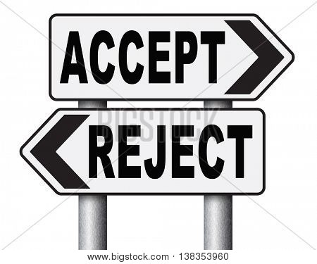 accept reject approve or decline and refuse offer proposal or invitation, yes or no 3D illustration, isolated, on white