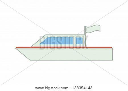 flat design single yacht icon vector illustration