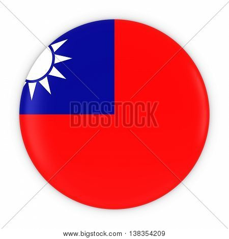 Taiwanese Flag Button - Flag Of Taiwan Badge 3D Illustration