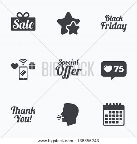 Sale icons. Special offer and thank you symbols. Gift box sign. Flat talking head, calendar icons. Stars, like counter icons. Vector