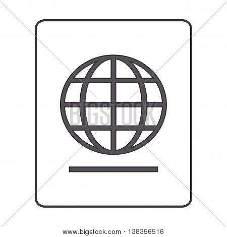 flat design passport with earth diagram icon vector illustration