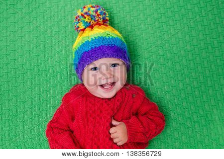 Little Baby In Warm Knitted Hat