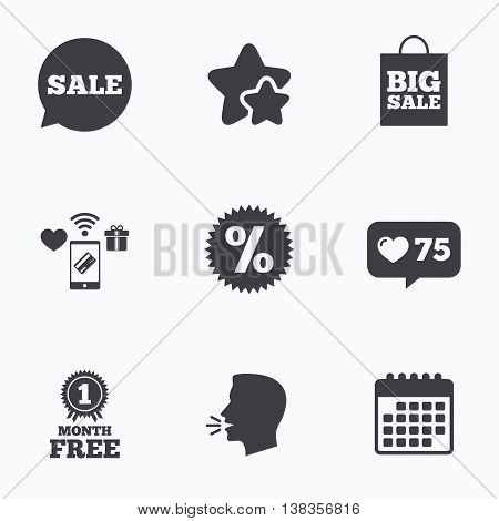 Sale speech bubble icon. Discount star symbol. Big sale shopping bag sign. First month free medal. Flat talking head, calendar icons. Stars, like counter icons. Vector