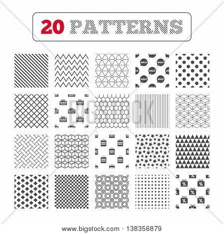 Ornament patterns, diagonal stripes and stars. Sale speech bubble icon. Black friday gift box symbol. Big sale shopping bag. Discount percent sign. Geometric textures. Vector