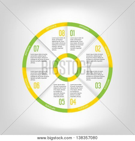 Infographic circle banner. Template for graph report presentation data visualisation cycling diagram round chart number options web design. 8 steps vector background. Green and yellow colors.