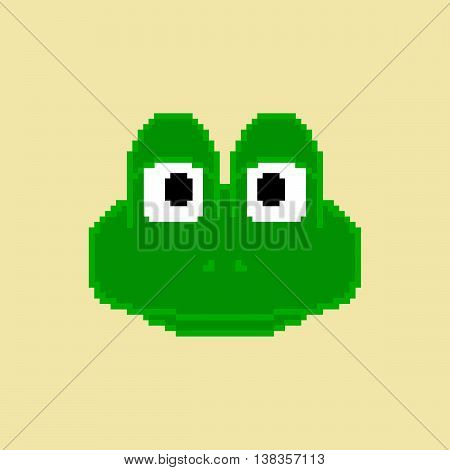 Pixel frog on the yelow background. Vector illustration