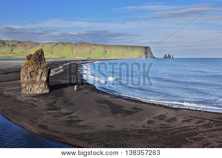 On the beach with black volcanic sand is a huge rock in the shape of palms. Cape Dirholaey in southern Iceland.