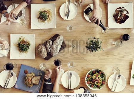 Dining Businessmen Businesswomen Cafe Relax Concept
