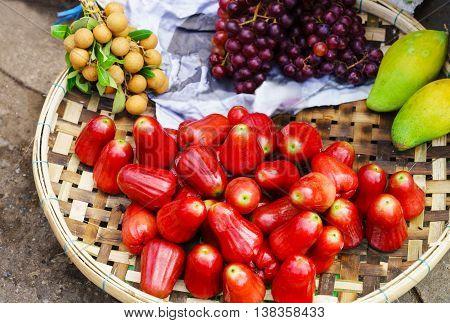 Asian Street Market Selling Rose Apple Longan Grape And Mango
