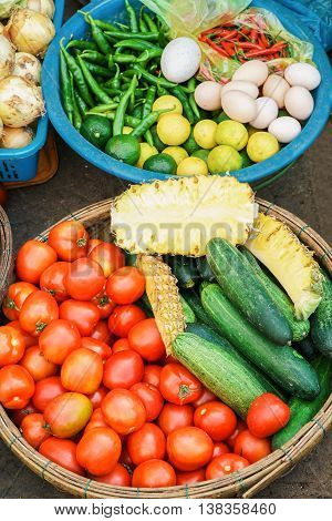Asian Street Market Selling Tomato Cucumber And Eggs In Vietnam